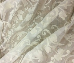 """Sheer Ivory Floral Drapery Fabric 80"""" Wide x 3.25 yards - $86.45"""