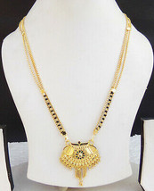 Indian Dulhan Fashion Jewelry Ethnic Gold Plated Chain Pendant Manglasut... - $10.93