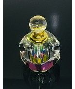 Vintage Reflective Crystal Multi Color Iridescent Perfume Bottle w/ Glas... - $37.99