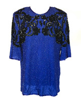 70s-80s Vintage Frank Usher Electric Vibes Sequin Beaded Long Occasion P... - $27.00