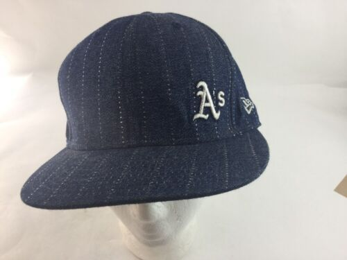 A's  MLB NEW ERA 59FIFTY Fitted Hat Blue Denim Look Mens Size 7 3/8 Used