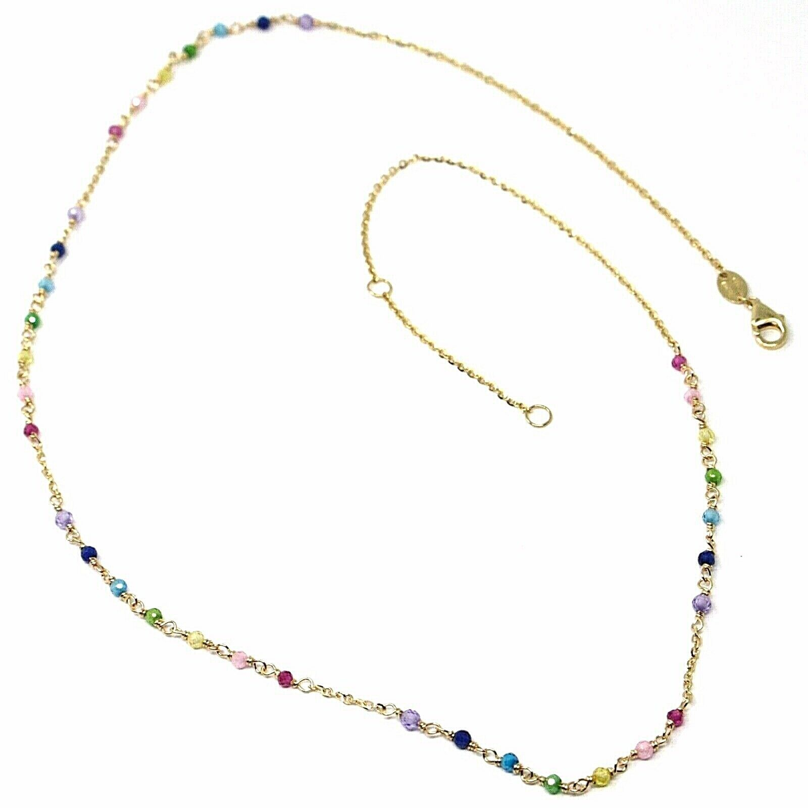 18K YELLOW GOLD NECKLACE, MULTI COLOR FACETED CUBIC ZIRCONIA, ROLO CHAIN, 18""