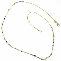 "18K YELLOW GOLD NECKLACE, MULTI COLOR FACETED CUBIC ZIRCONIA, ROLO CHAIN, 18"" image 1"