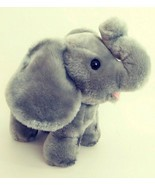 "Dakin 14"" Plush Elephant Gray Standing Large Ears Trumpeting 1978 Vintag... - $14.67"