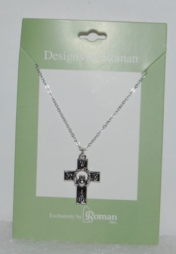 Roman Inc 60082 Celtic Cross Claddagh Necklace Silver Color 1 Inch