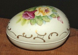 Lefton Hand-Painted Bisque Porcelain Egg Trinket Box #426 - $13.51