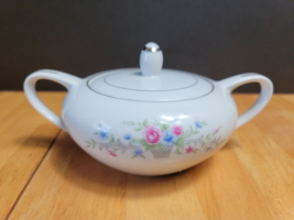 Florenteen Fantasia Sugar Bowl with Lid White with Flowers in Gray Basket - $15.84