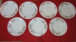 Vintage Bone China Roses Surround Salad Plate & Bowl Set of Seven (7) Au... - $49.45