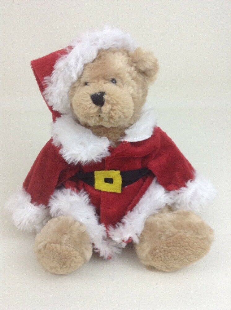 "Santa Bear Tan Teddy Bear 12"" Santa Claus Jacket Hat Plush Stuffed Toy Ganz"