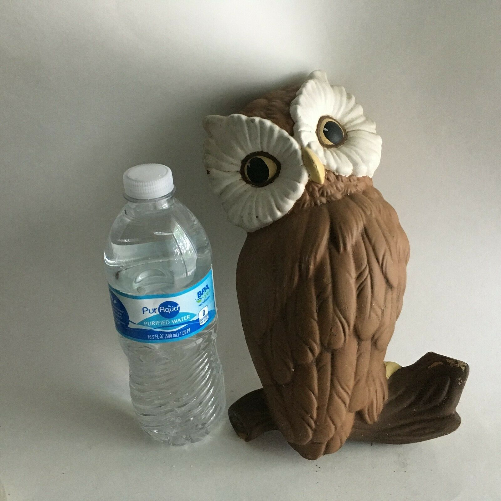 "Vintage Ceramic Hand Painted Owl Mid Century Wall Decor 10"" X 6"" X 3.25"""