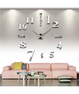 Classic Mirror Chrome 3D DIY Large Number Analog Wall Clock  - $41.57