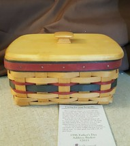 Longaberger 1996 FATHER'S DAY ADDRESS BASKET 12611 With Wood Lid & Addre... - $29.95