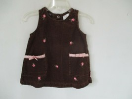 Izod Girl's Size 12 Months Solid Brown 100% Cotton Sleeveless Dress w/ 2... - $20.80
