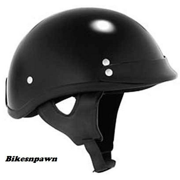 New L Skid Lid Traditional Gloss Black 1/2 Helmet DOT