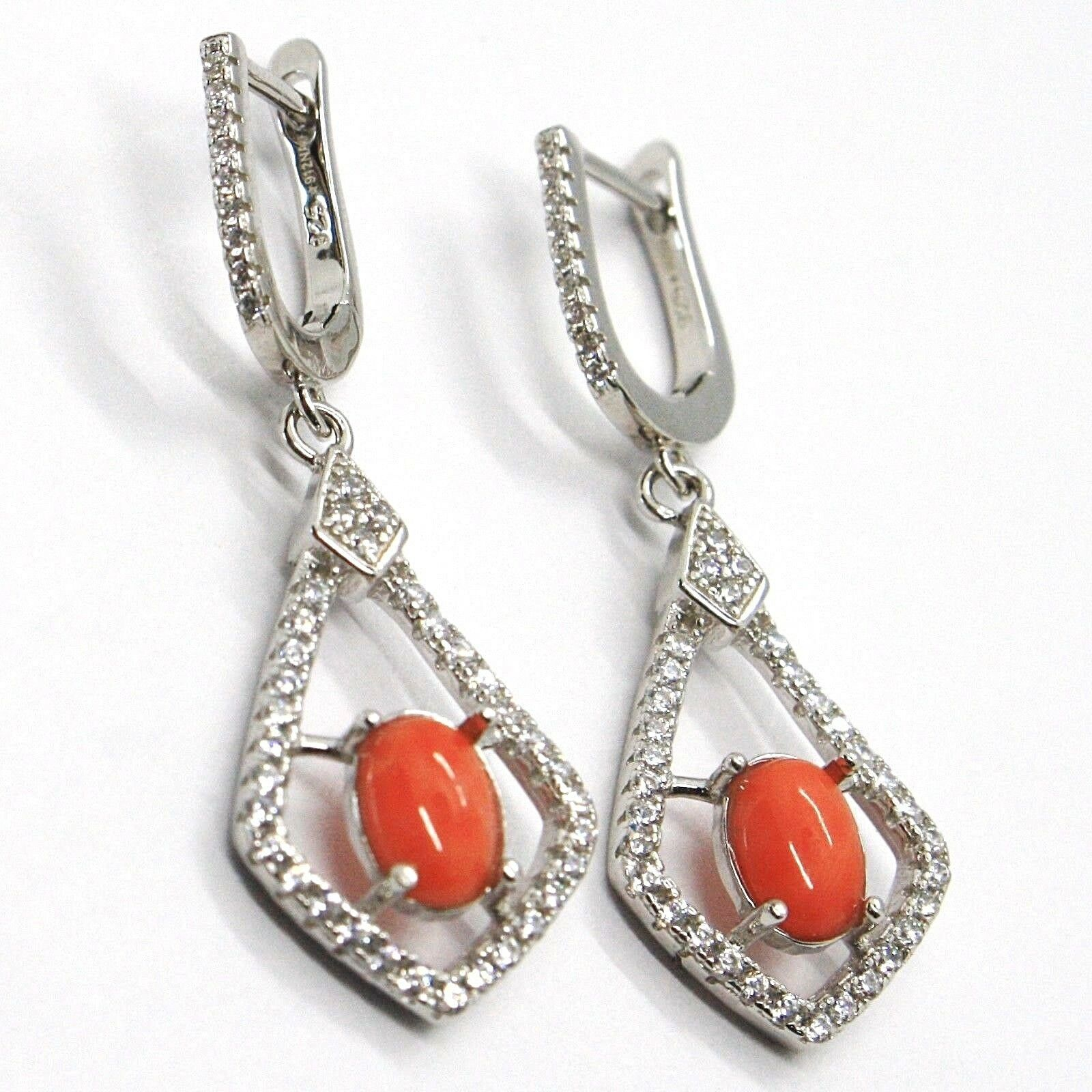 Silver Earrings 925, Hanging with Zircon, Red Coral Cabochon, Rhombuses
