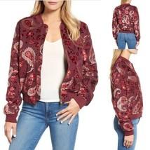 Kas New York Women's Ashlyn Velvet Burnout Bomber Jacket Purple Paisley ... - $54.45