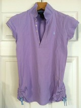 RALPH LAUREN TEENAGE GIRLS PRE-OWNED LAVENDER 100%COTTON POLO SHIRT SIZE... - $31.32