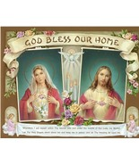 Catholic Print Picture SACRED HEART JESUS & MARY God bless our Home Pray... - $14.01