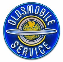 Oldsmobile Service Neon Stylized Round Metal Sign by Larry Grossman - $49.95