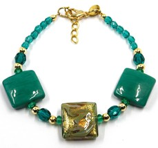 """BRACELET WITH GREEN MURANO SQUARE GLASS & GOLD LEAF, MADE IN ITALY, 19cm, 7.5"""" image 1"""