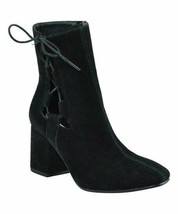 Brand New Women's Hot Kiss Gila Block Heel Cut Out Side Laced Boots Black US 6.5 image 2