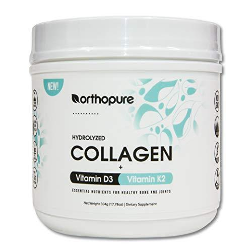 Orthopure Collagen Peptides Fortified with Vitamin D3 and Vitamin K2, 18g Collag