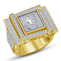 J initial Mens Ring Yellow Gold Over Pure 925 Sterling Silver Mens Diamond Ring - £140.50 GBP
