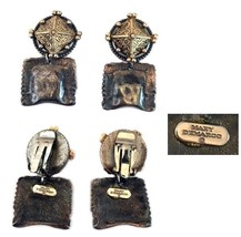 Vintage Mary Demarco Hammered Dangle Clip Back Earrings - $32.00
