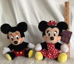 "Stuffed Plush Mickey & Minnie Mouse Toy Dolls Vintage 7"" Sitting - $25.99"