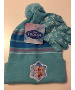 Disney Frozen Elsa AND Anna GIRLS Hat and Mittens Set Sisters NEW WITH TAGS - $14.84