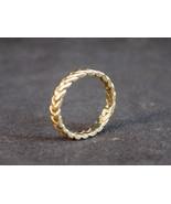 GOLD tone LADIES Herringbone ring Size 3.5 unisex costume jewelry rings  - $9.49