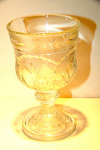 Pebble Leaf Wine Goblet Indiana Glass Pressed Vintage Stem Cabbage Leaves Vgc - $14.98