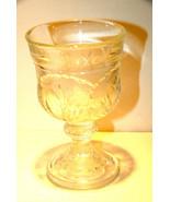 PEBBLE LEAF WINE GOBLET INDIANA GLASS PRESSED VINTAGE STEM CABBAGE LEAVE... - $14.98