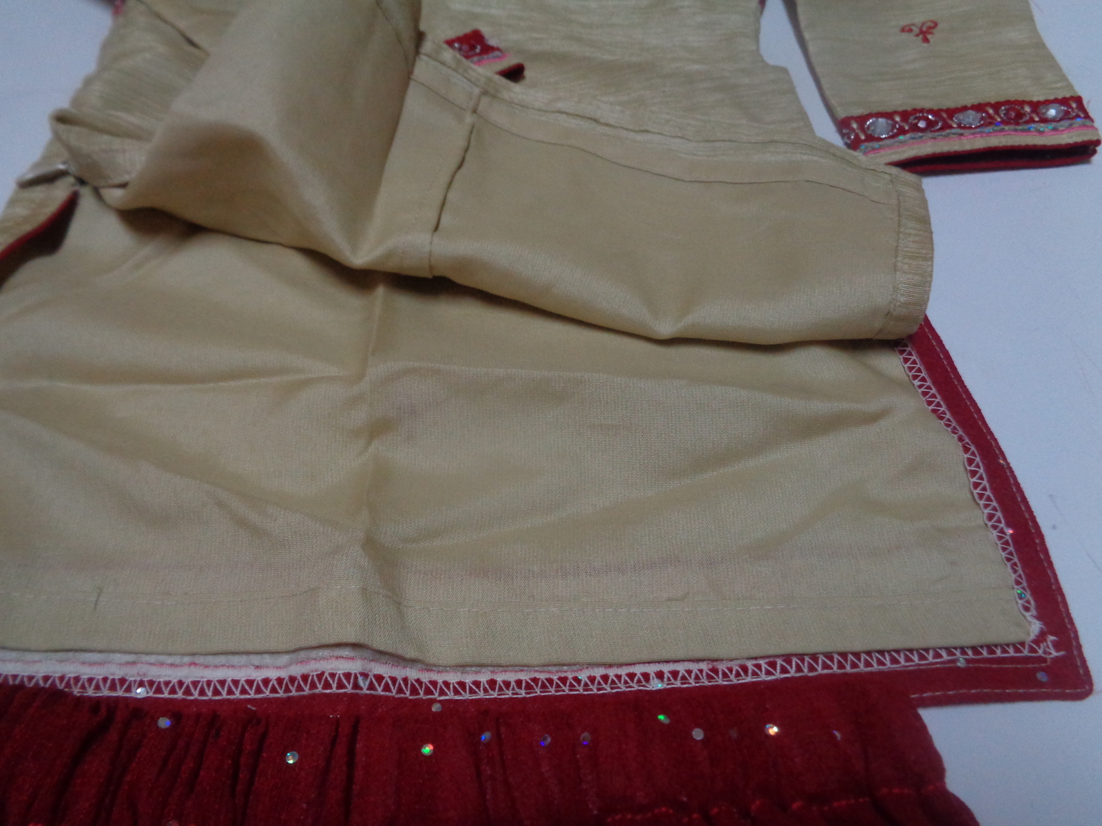 Traditional Indian Festive Infant 2 Piece Outfit 3 Mo Handmade Gold Thread NEW
