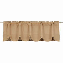 BURLAP NATURAL Valance w/Navy Check - 16x60 - Country Farmhouse - VHC Brands