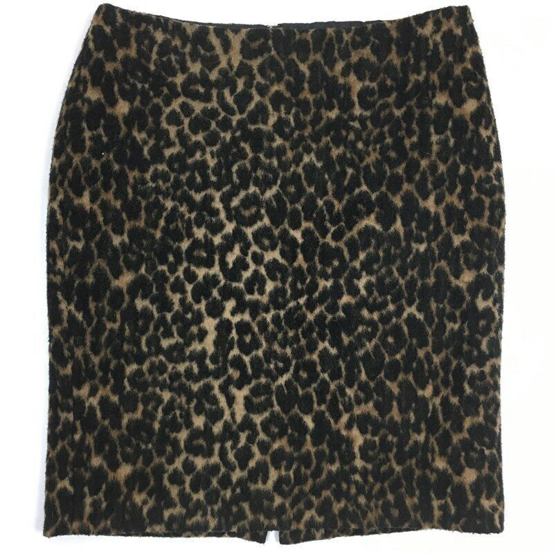 7e63a9f19a Talbots Women's Skirt Size 10P Leopard Print Wool Textured Career Straight  Lined - $15.44