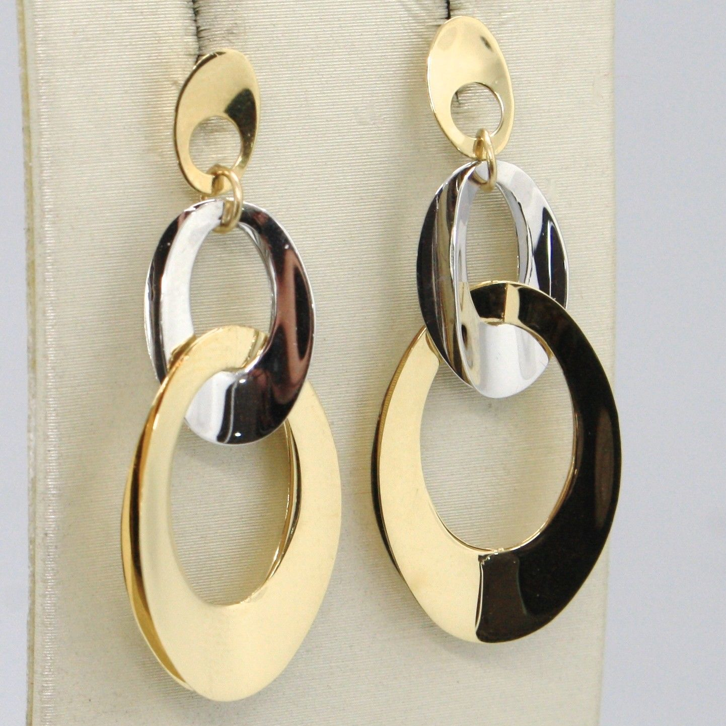 SOLID 18K YELLOW WHITE GOLD PENDANT EARRINGS, TRIPLE ONDULATE OVAL MADE IN ITALY