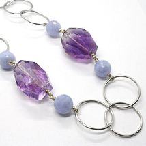 Necklace Silver 925, Fluorite Oval Faceted Purple, Chalcedony, 70 CM image 4