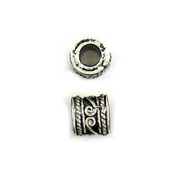 SHORT TUBE FINE PEWTER BEAD - 7x7x7mm Hole 3.5mm