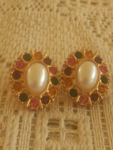 Vintage Faux Oval Pearl Multicolored Rhinestone Earrings - $6.00