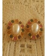 Vintage Faux Oval Pearl Multicolored Rhinestone Earrings - $6.00