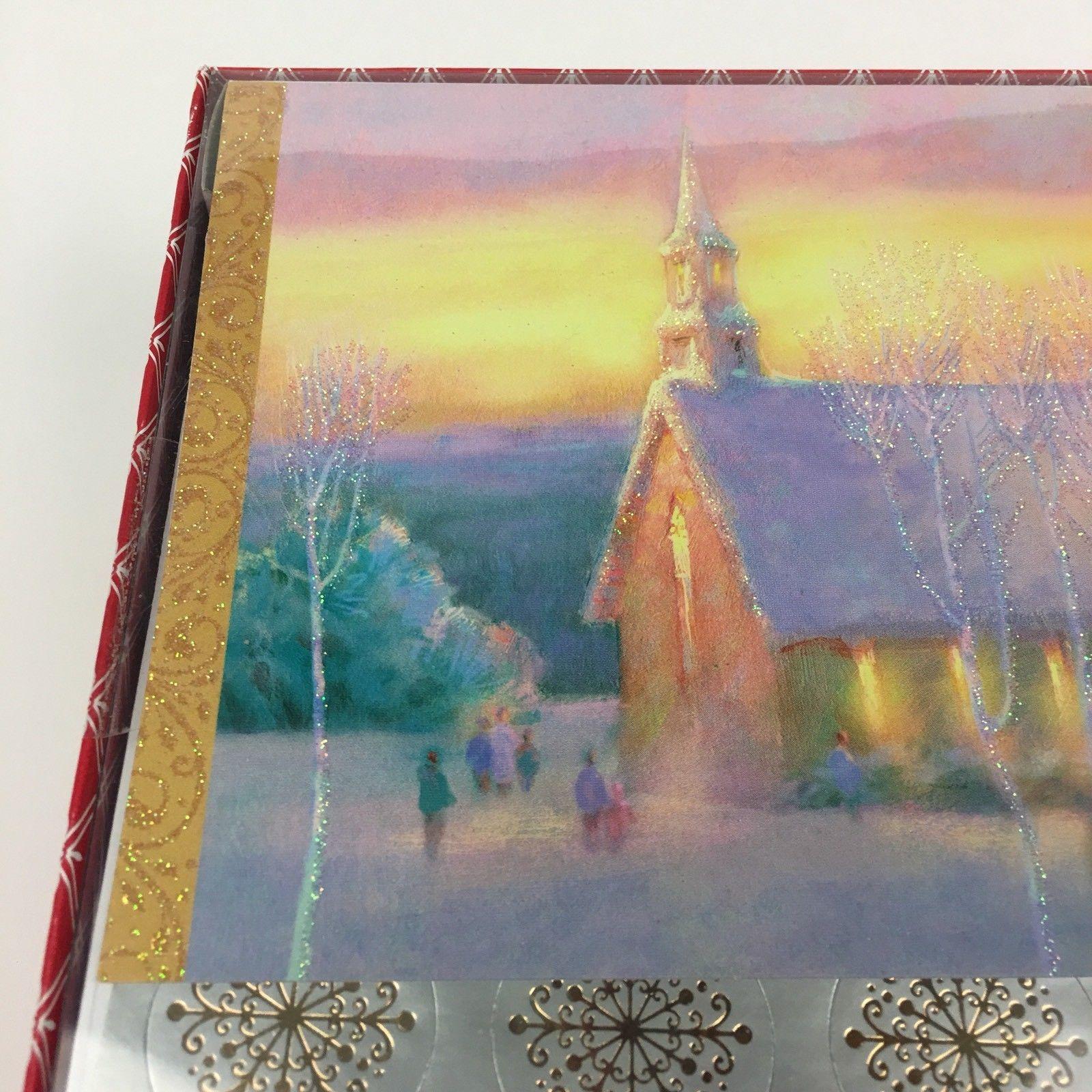 NIB 40 Greeting Christmas Holiday Glitter Cards w Envelopes Seals Church Village