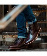Handmade Mens Wingtip brogue ankle leather boots,Men lace up ankle leath... - $179.99