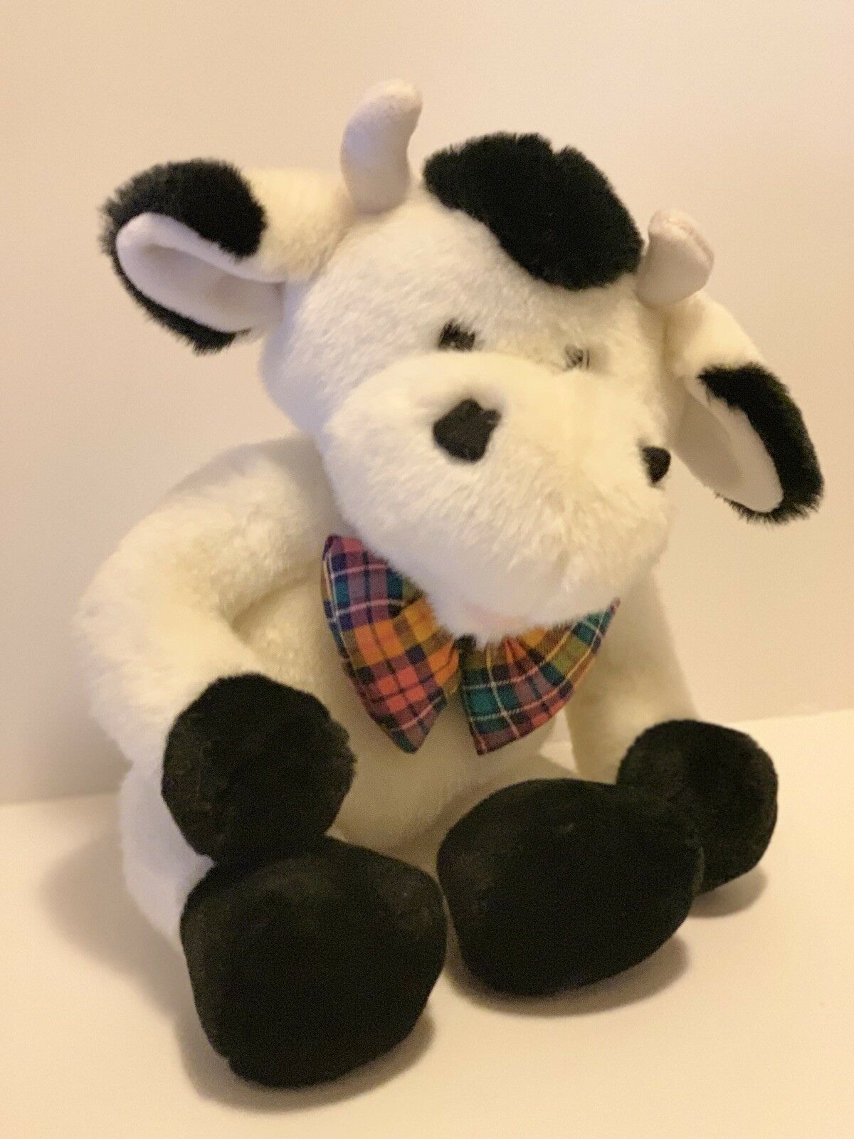 "Commonwealth Plush Cow Black White Stuffed Animal Plaid Bow Tie Soft 14"" Toy image 4"