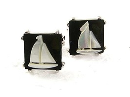 Vintage Sailboat Mother of Pearl & Abalone Cufflinks By SHIELDS 71017 - $34.64