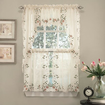 """Rosemary Floral Embroidered Semi-Sheer Kitchen Curtain 36"""" Tier Swag Val... - $36.69"""