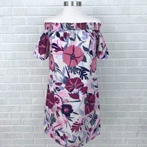 New Ann Taylor LOFT Small S Off The Shoulder Dress Floral Pink Blue Outl... - $31.62