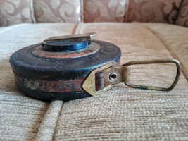 Vintage Tape Measure Round, Leather, Brass, 10 meters long - $12.39