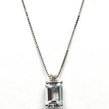 18K WHITE GOLD NECKLACE AQUAMARINE 0.80 EMERALD CUT & DIAMOND, PENDANT & CHAIN image 1