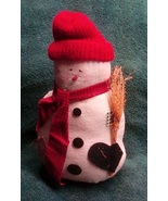 Plump Snowman with Knitted Red Cap  Decoration - $10.00
